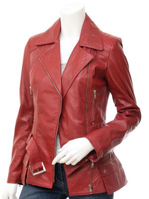 Women's Red Biker Leather Jacket: Simi