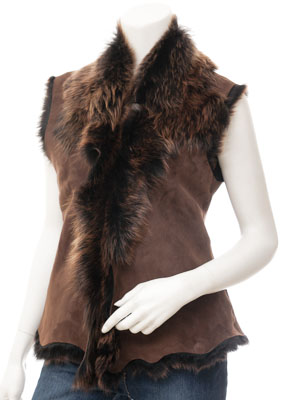 Womens Brown Gold Toscana Gilet: Vallejo