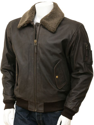 Leather Flight Jacket in Brown: Catania