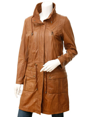 Ladies Tan Leather Parka