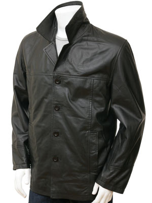 Men's Black Leather Reefer Jacket: Zurich