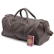 Brown Leather Holdall: Ross