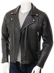 Mens Black Biker Leather Jacket: Ashford