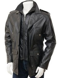 Mens Leather Coat in Black: Avonwick