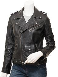 Womens Biker Leather Jacket in Black: Blossburg
