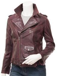 Women's Biker Leather Jacket in Oxblood: Blossburg