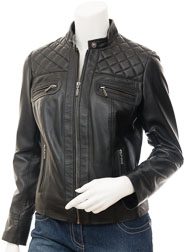 Womens Black Leather Jacket: Blountsville
