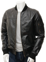 Men's Black Bomber Leather Jacket: Braunton