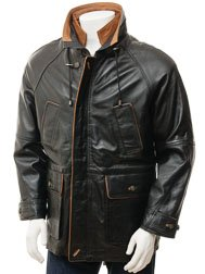 Men's Leather Coat in Black: Brealeys