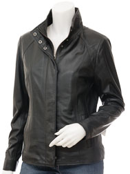 Womens Leather Jacket in Black: Bryant