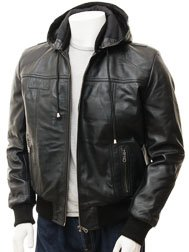 Men's Black Leather Hoodie Jacket: Chelfham