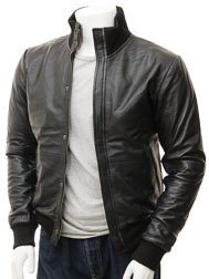 Men's Black Bomber Leather Jacket: Cheriton