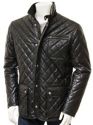 Men's Black Leather Jacket: Colyford