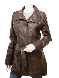 Women's Brown Leather Coat: Crossville