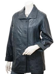 Women's Blue Leather Coat: Cullman