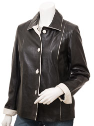 Women's Black Leather Jacket: Cusseta