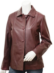 Women's Burgundy Leather Jacket: Cusseta