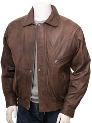 Mens Bomber Leather Jacket in Brown: Perugia
