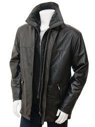 Mens Black Leather Coat: Erfut