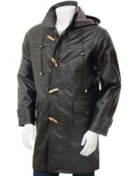 Men's Leather Duffle Coat in Black: Kaluga
