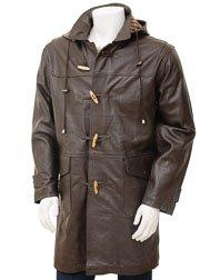 Men's Leather Duffle Coat in Brown: Kaluga
