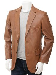 Men's Tan Leather Blazer: Magdeburg
