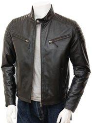 Mens Black Biker Leather Jacket: Maikop