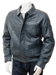 Mens Blue Leather Jacket: Rennes