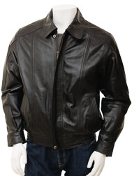 Mens Black Leather Jacket: Rennes