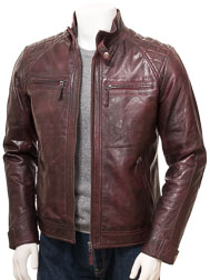 Men's Oxblood Biker Leather Jacket: Sibiu