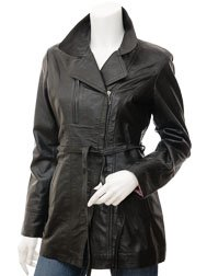 Womens Leather Jacket in Black: Addison