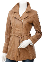 Womens Leather Jacket in Tan: Addison