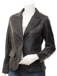Womens Leather Blazer in Black: Aliceville