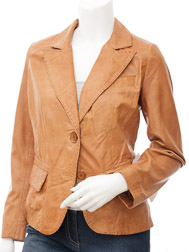 Womens Leather Blazer in Tan: Aliceville