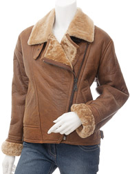 Womens Tan Sheepskin Flying Jacket: Arley