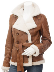 Womens Leather Jacket in Tan: Atmore