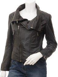 Womens Leather Jacket in Black: Auburn