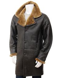 Mens Brown Sheepskin Trench Coat: Barbrook