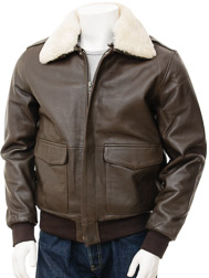 Mens Leather Flight Jacket in Brown: Bolberry