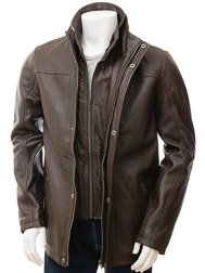 Men's Brown Leather Jacket: Broadclyst