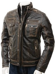 Men's Leather Jacket in Brown: Broadhembury