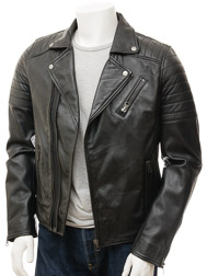 Men's Biker Leather Jacket in Black: Buckerell