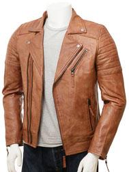 Men's Biker Leather Jacket in Tan: Buckerell