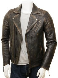 Men's Vintage Biker Leather Jacket: Buckerell