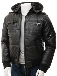 Men's Black Bomber Leather Jacket: Buckland
