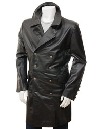 Men's Black Leather Greatcoat: Bulkworthy