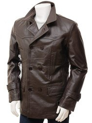Men's Brown Leather Peacoat: Bursdon