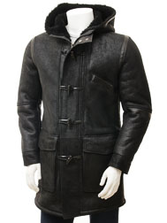 Men's Black Sheepskin Duffle Coat: Chambercombe