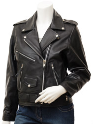 Women's Black Biker Leather Jacket: Coden