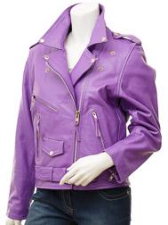 Women's Purple Biker Leather Jacket: Coden